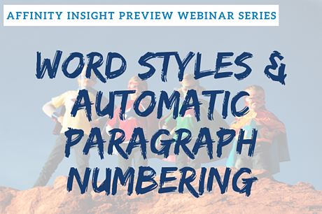 Affinity Insight Preview Series - Word Styles and Automatic Paragraph Numbering